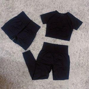 3Pc Black Vital Seamless Set (Shorts,Leggings,Top)